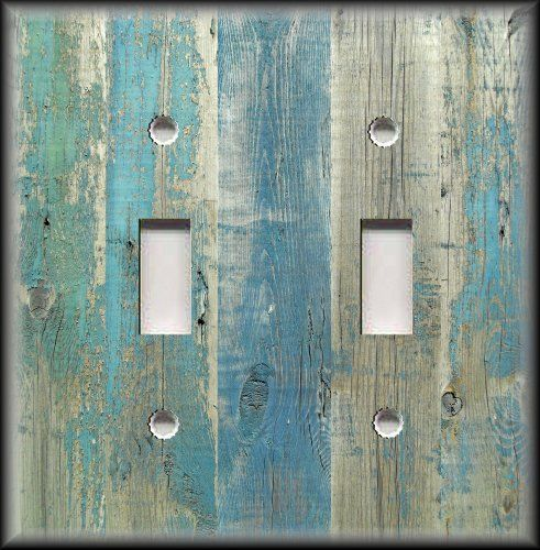 Light Switch Plate Cover - Beach Aged Wood Image Blue - Coastal Home Decor  #LunaGallerySwitchPlates