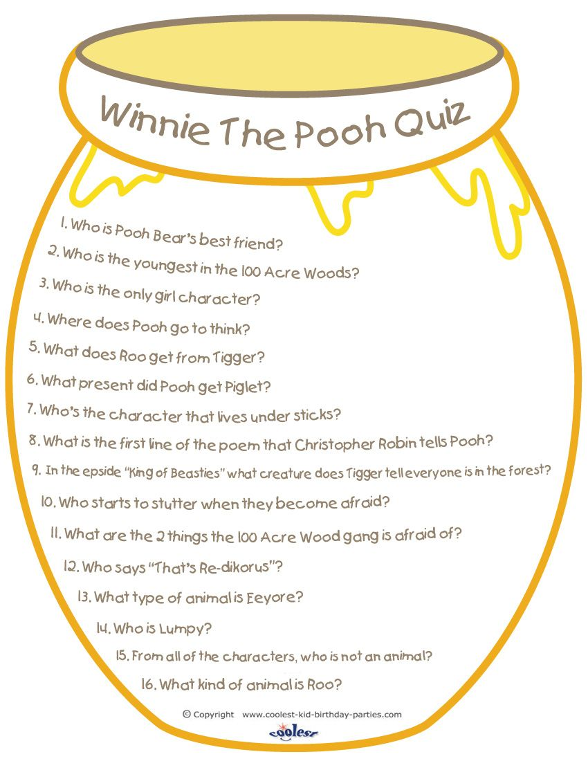 Heres a great printable Winnie the Pooh quiz you can use at a