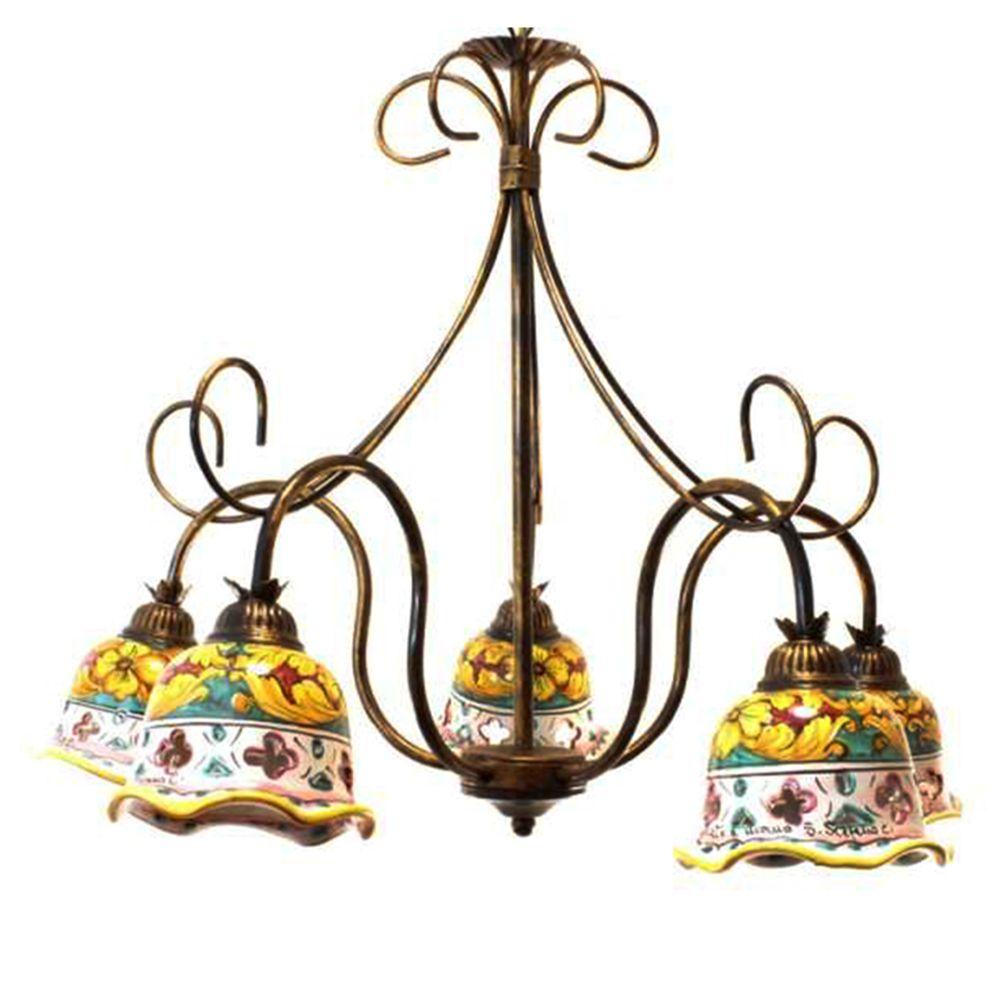 Lampadario 5 luci in ferro battuto con ceramica Giulia5L