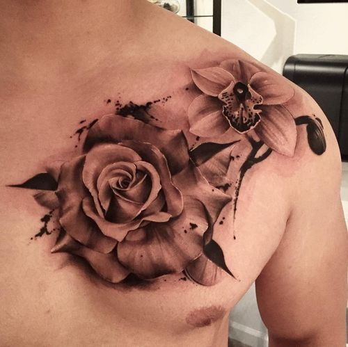 Amazing Tribal Orchid Tattoo Ideas In 2020 Rose Tattoos For Men Chest Tattoo Flowers Rose Chest Tattoo
