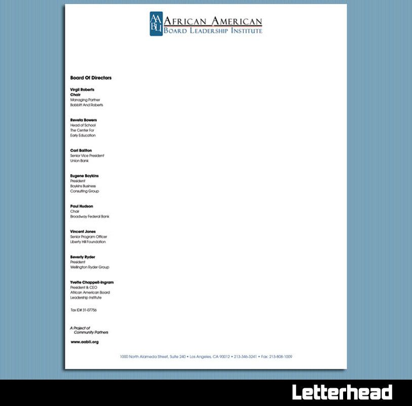 board of directors letterhead template