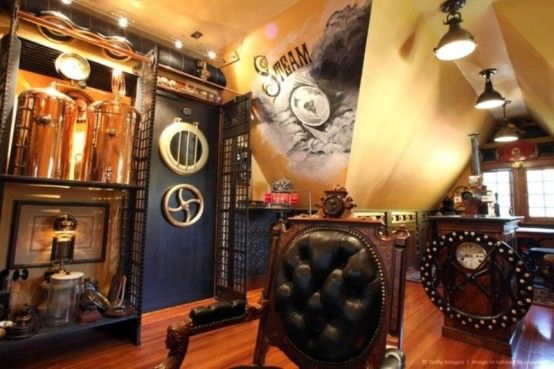 Steampunk Interior Design Ideas take out some of the patterning and replace with something more cohesive and historical other steampunk interiorsteampunk Design Styles Decorating Ideas 28 Crazy Steampunk Home Office Designs