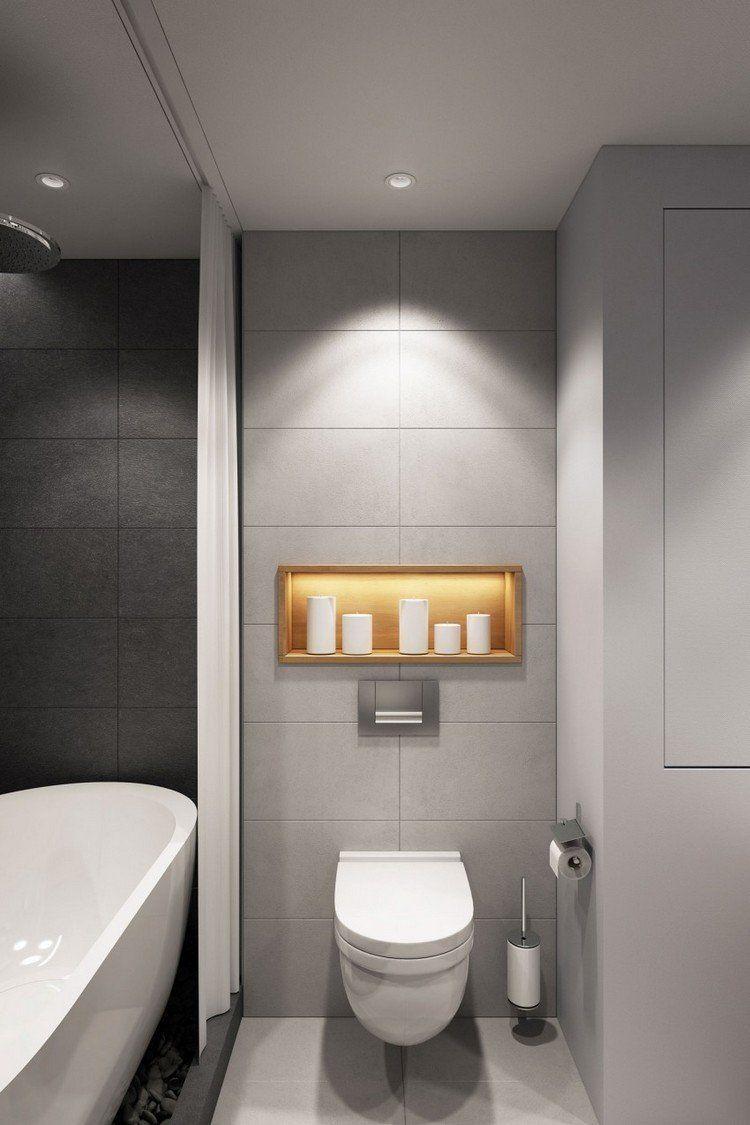 graue Wandfliesen und Wandfarbe im Bad | Badezimmer | Pinterest ...
