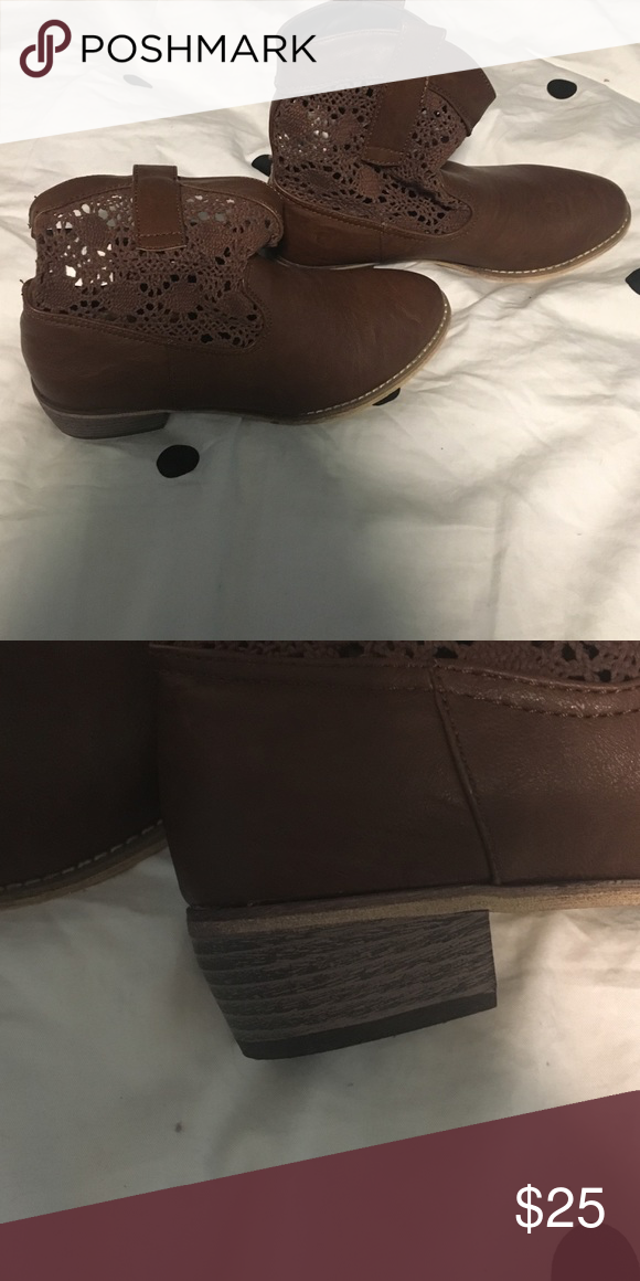 """Lace brown """" short cowboy boot style """" Never worn Aeropostale Shoes Ankle Boots & Booties"""