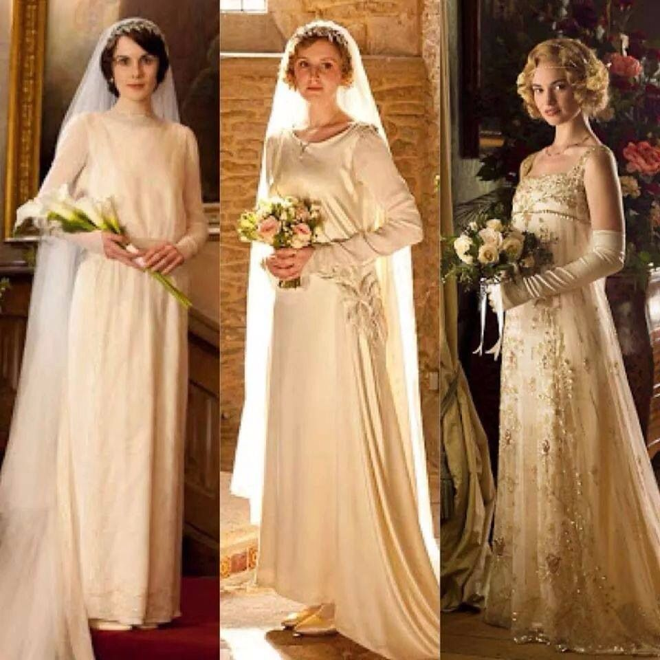 Lady Mary, Lady Edith, and Lady Rose. All in their wedding gowns ...