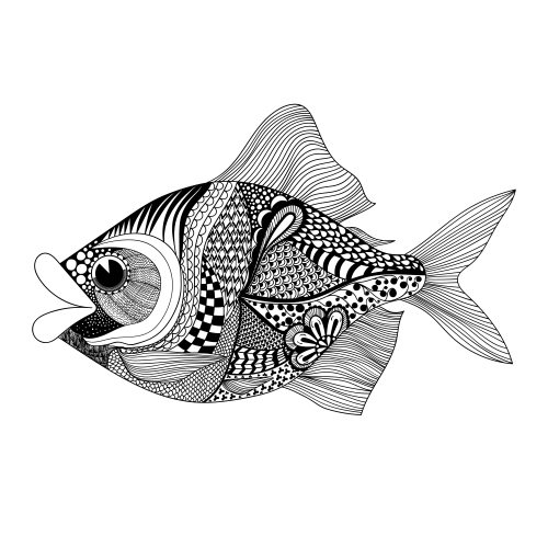 Highly Detailed Tropical Fish Coloring Page Just For You With A Little Magic
