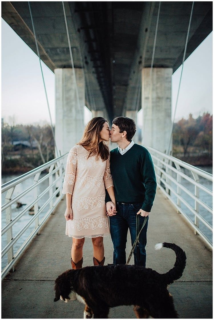 Sweet Sunrise Engagement With Their Pup Walter At Belle Isle In