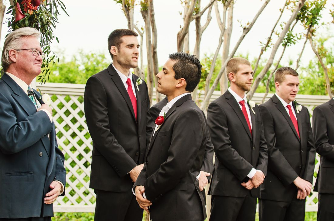 The bride had a long walk down the aisle, so the groom turned around until she got closer so he could get the full effect #groom #ceremony