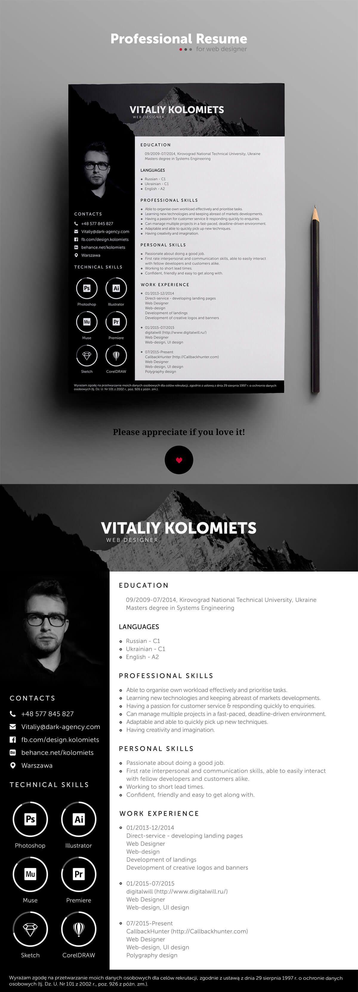 Modele De Cv Moderne Gratuit Graphic Design Resume Resume Design Creative Resume Design Free