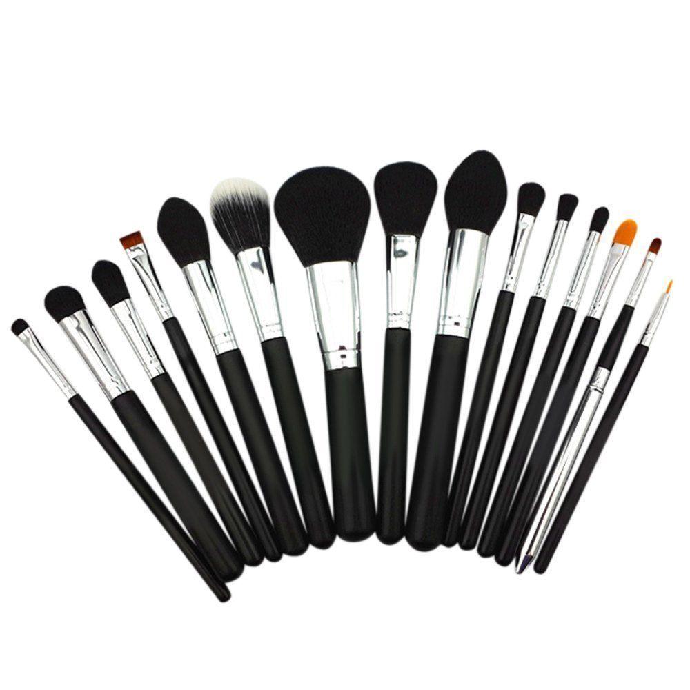 BESTOPE 15PCS Makeup Brush Set Cosmetics Foundation Blending Blush Eyeliner Face Powder Brush Makeup Brush Kit (Black)