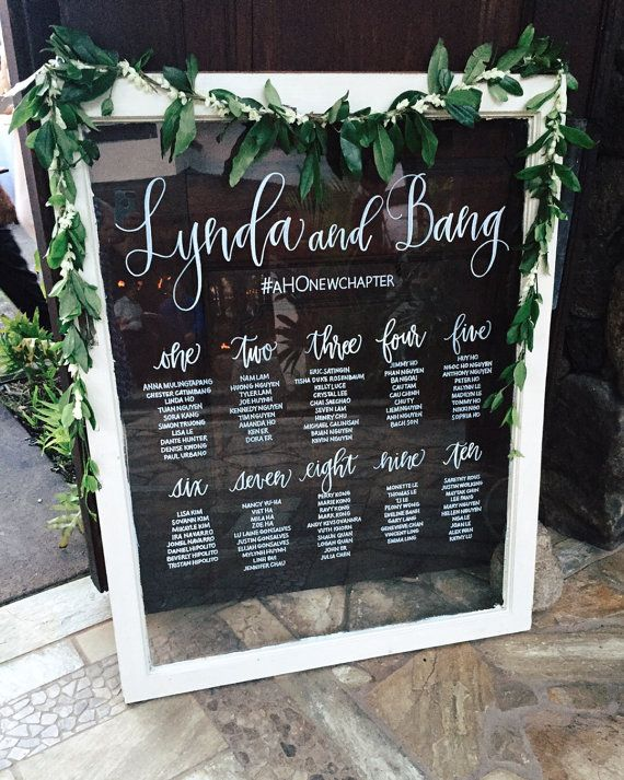 Handwritten Window Pane Seating Chart - Rental - Hawaii Calligraphy