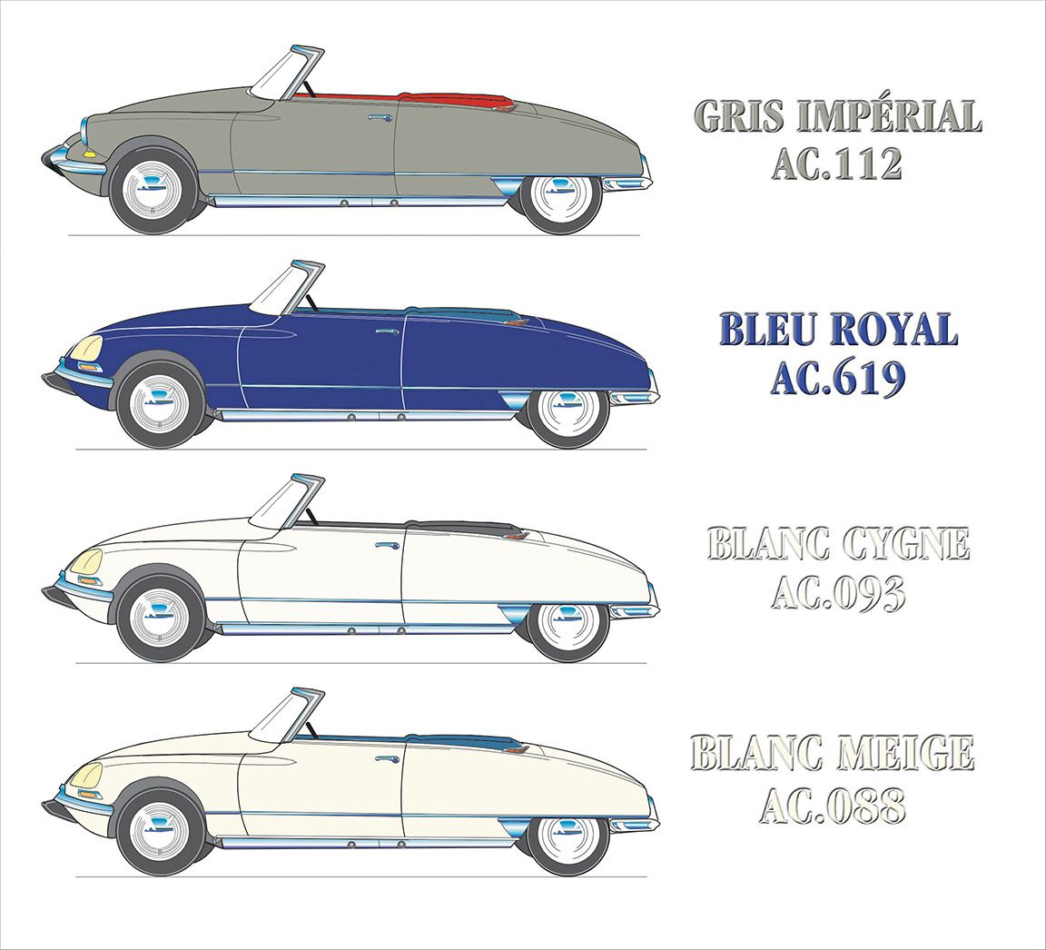 Colors of the Citroën DS Factory Cabriolets. Series 2 and 3. Drawings create with Canvas.
