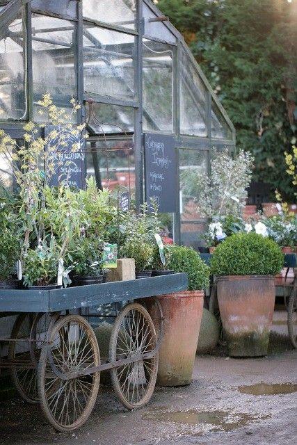 Petersham Nurseries, Richmond Surrey UK...nursery cart