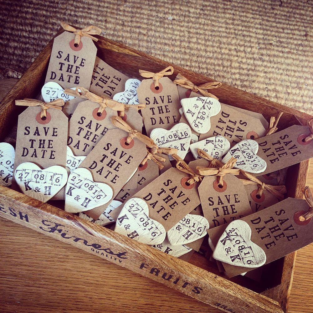 Save The Date Handmade Rustic Tags With Clay Magnet | Clay magnets ...