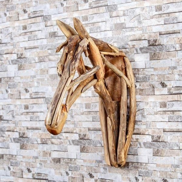 Best Rustic Coastal Decorating Ideas For Simple Home Decor: Garden Age Supply Harini Driftwood Horse Head