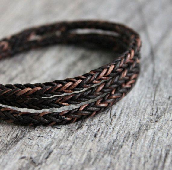 Mens Triple Wrap Bracelet tresse de cuir par LynnToddDesigns