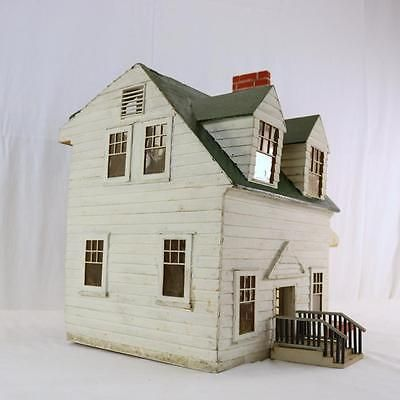 Antique Colonial Revival Wooden Doll House, Salesman Sample? 1920s Cape Cod