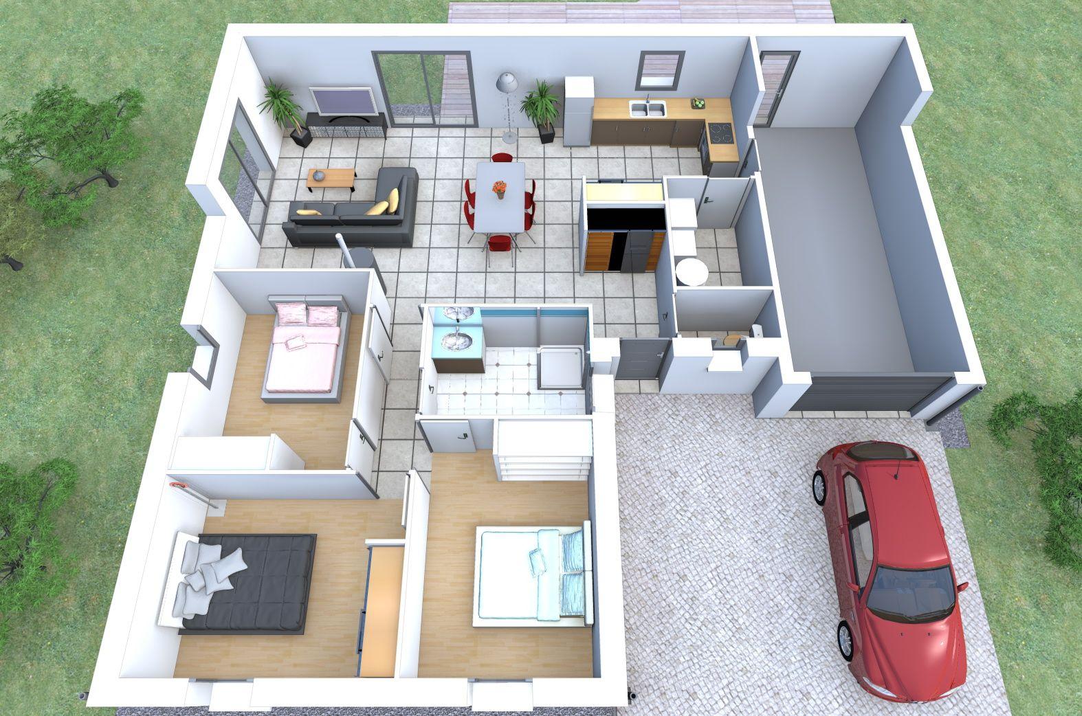 Imaginez le rez de chaussée de votre maison sur mesure alliance construction avec ce plan en