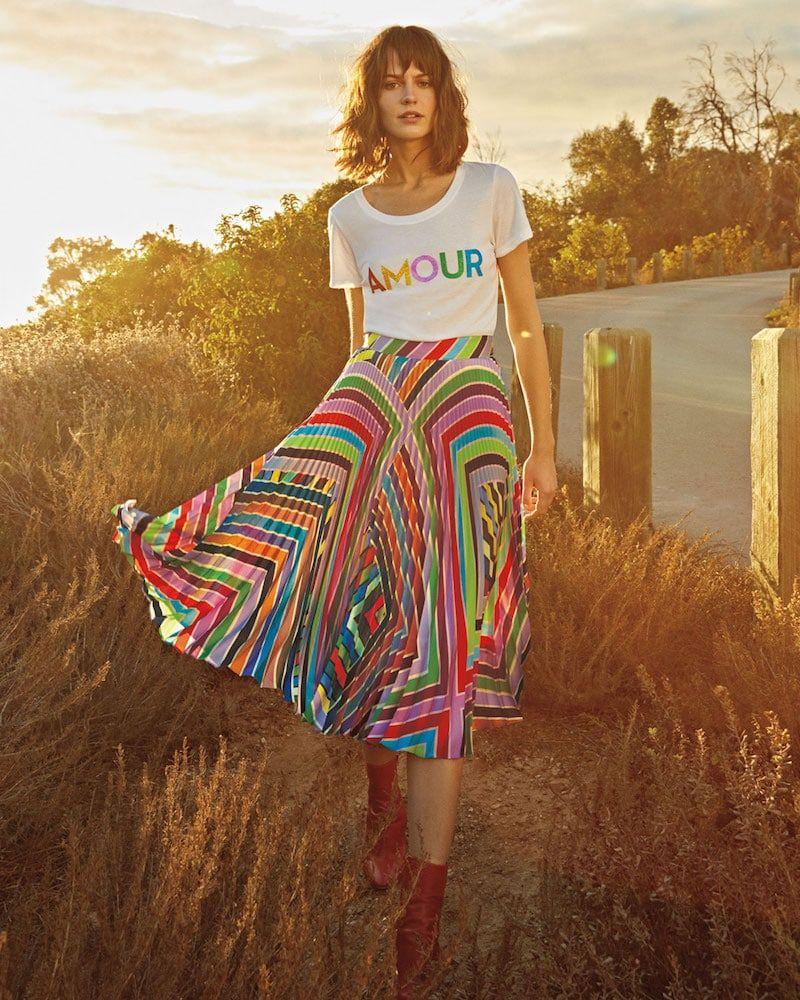 71cd9455b2db Milly Rainbow Stripe Pleated Skirt   Favor Style Women   Fashion ...