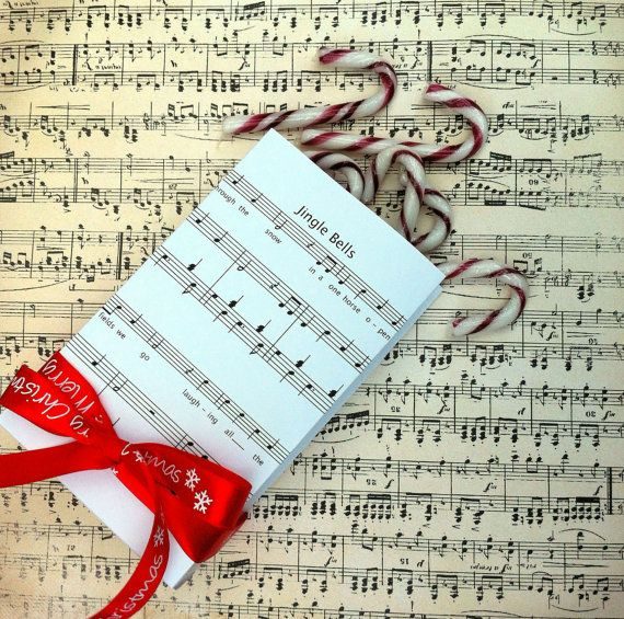 Jingle Bells Sheet Music Gift Bag Template, create gift bags from a folded page. Printable, PDF. Christmas music, party, favors, gift tags.