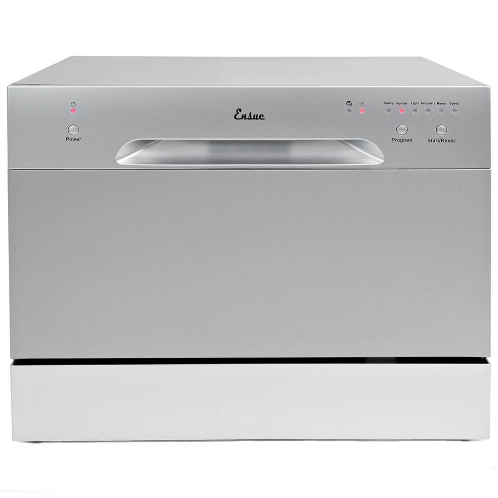 Ensue Portable Dishwasher In Silver With 6 Place Setting Capacity Portable Dishwasher Compact Dishwasher Countertop Dishwasher