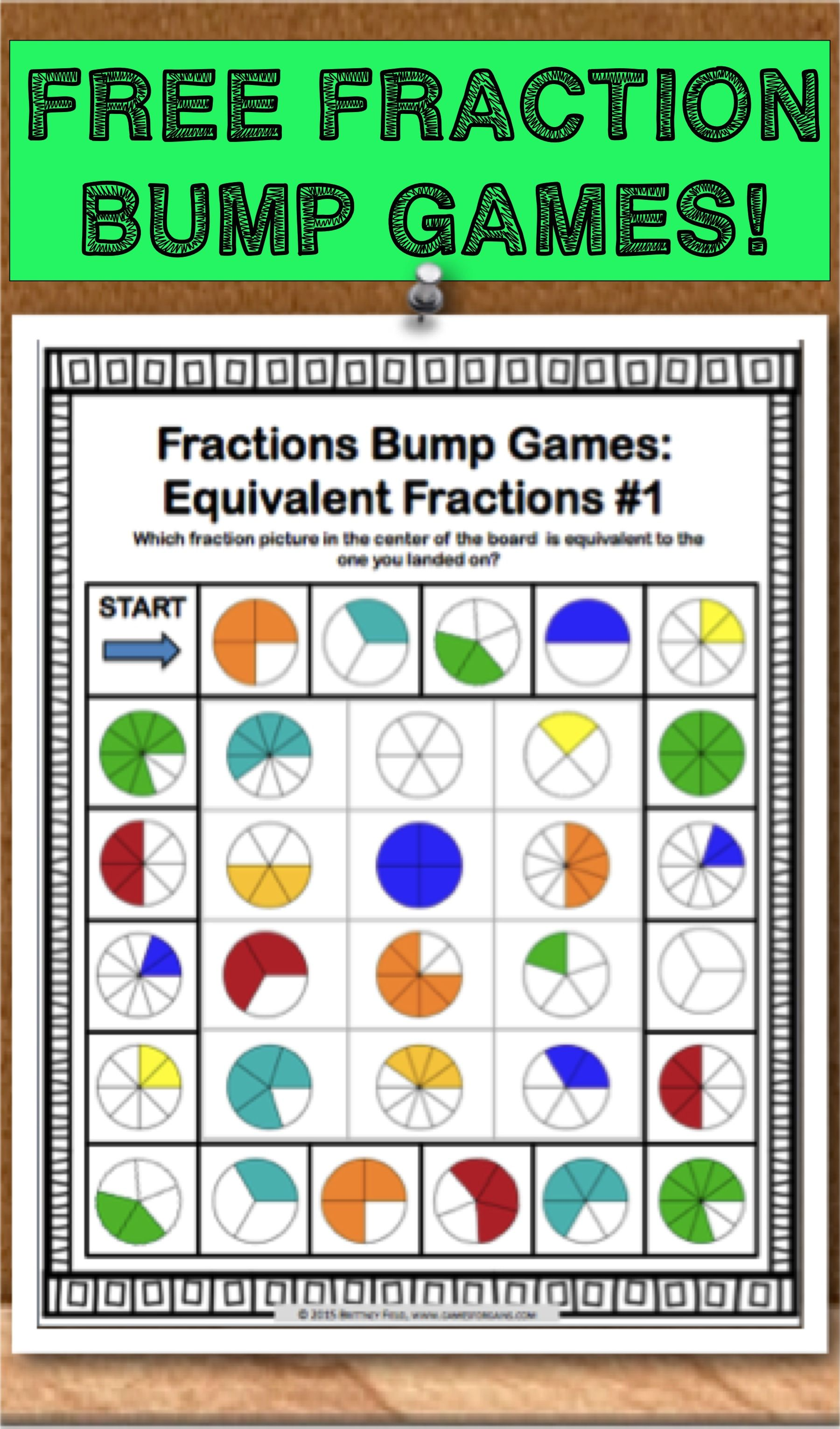 Get This And 11 Other Fraction Bumps Games As An Exclusive Freebie When You Subscribe To The Mailing List At Games4g Math Fractions Fourth Grade Math Fractions