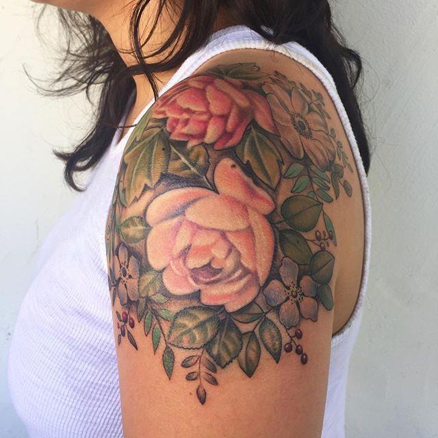 c2f0dcfe8 Vintage inspired cap sleeve, thanks @karithecat #vintage#tattoo#floral  @botanicaltattoos