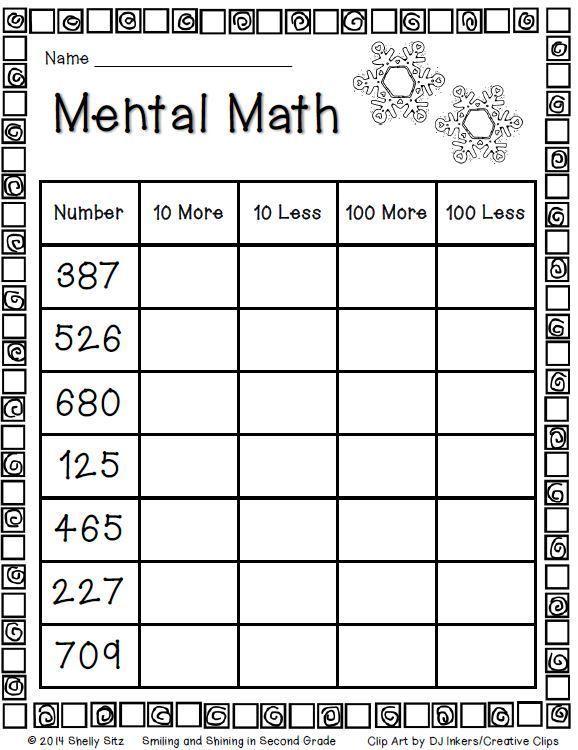 Mental Math For Second Grade Freebie Math Activities Pinterest