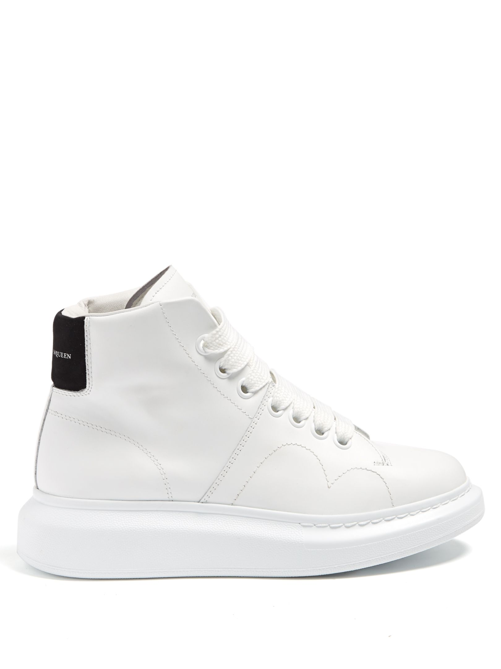 f581ed1229a541 Alexander McQueen Raised-sole high-top leather trainers