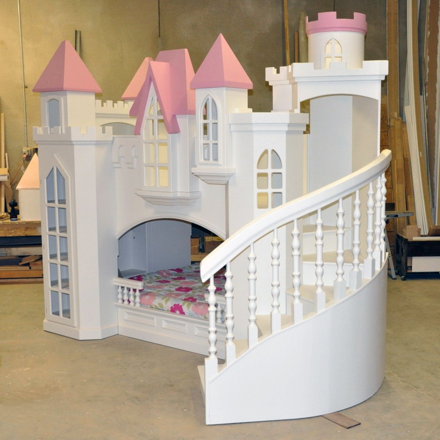 Bedroom , Unique Bunk Beds For Kids Bedroom Design Ideas : Excellent Castle Bunk  Bed For Girls Bedroom Idea