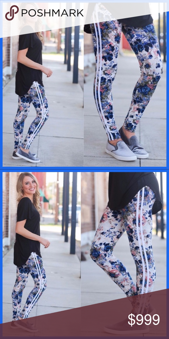 e1601c02a6 ❄️FLORAL STRIPED LEGGINGS❄ ❄️CUTE & CASUAL❄ Perfect for a day of running  errands or Christmas shopping❄ Pair with a comfy top and slip ons or a ...