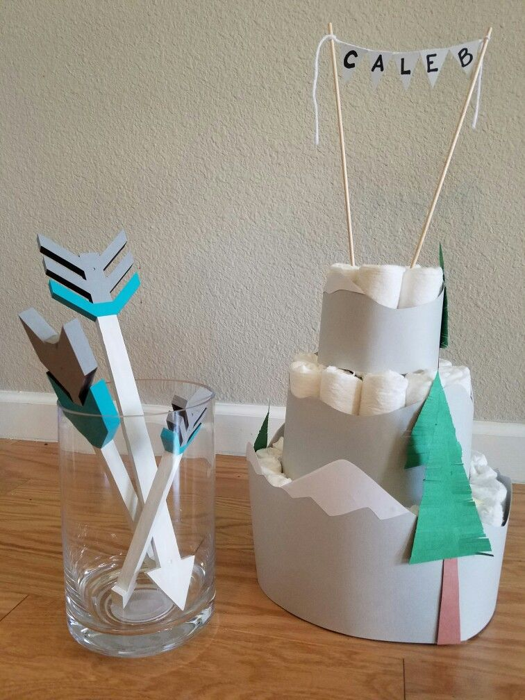 Mountain Diaper Cake For Arrows And Mountain Boy Baby Shower Ooo