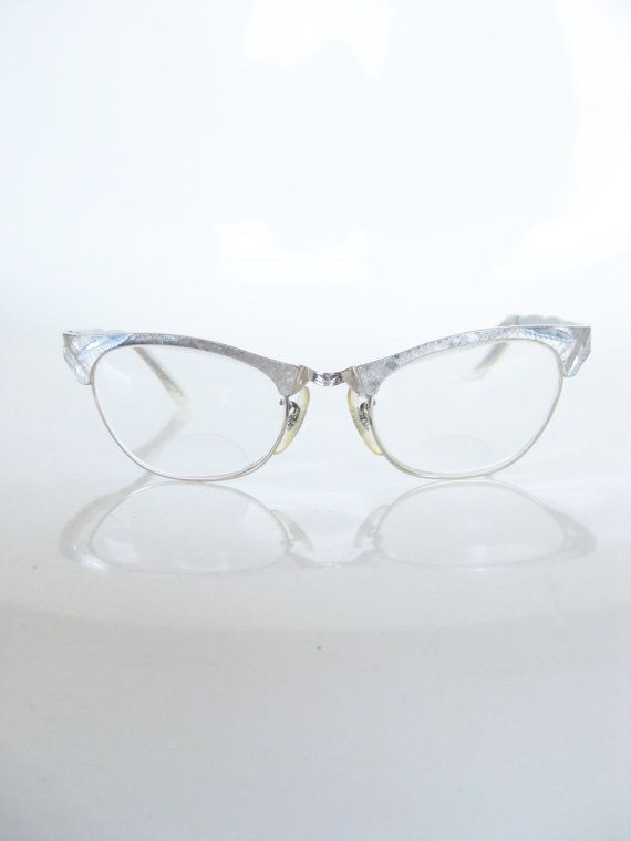 Vintage BRUSHED Brass Cat Eye Catseye Glasses Eyeglasses Optical Frames 1950 50s Fifties Mad Men