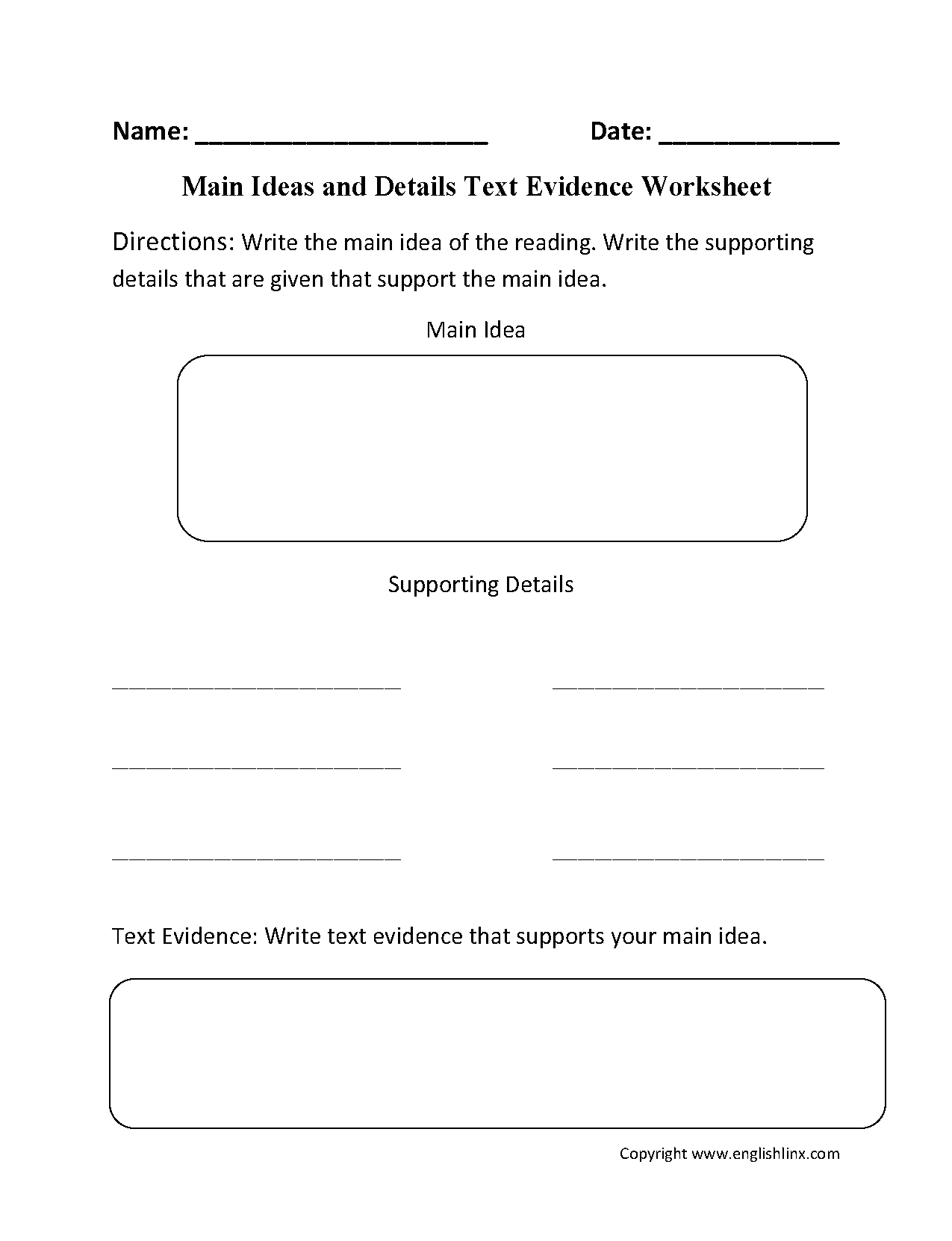 Content By Subject Worksheets Reading Worksheets Text Evidence Reading Worksheets Main Idea Worksheet [ 1662 x 1275 Pixel ]