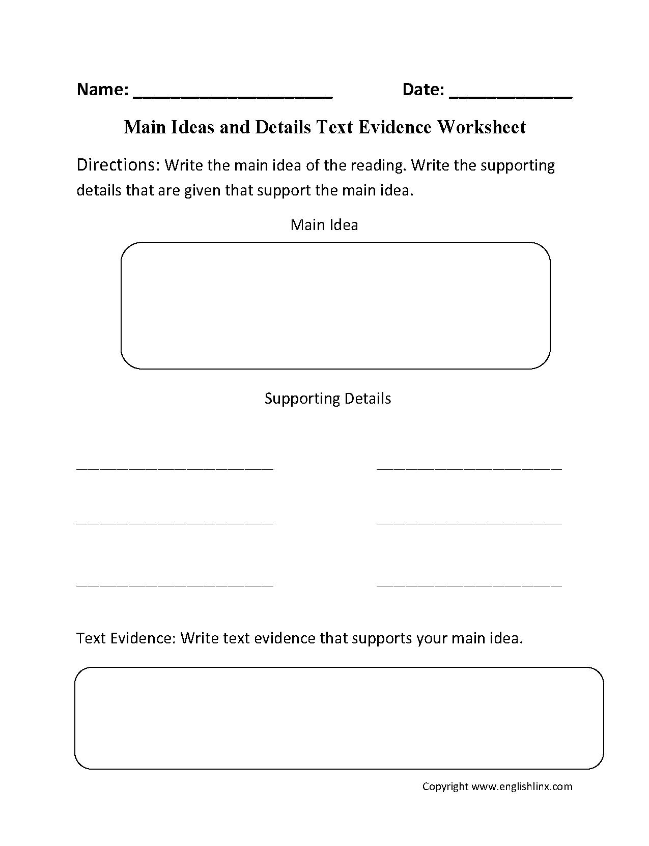 worksheet Main Idea Details Worksheet main idea worksheets eng writing pinterest worksheets