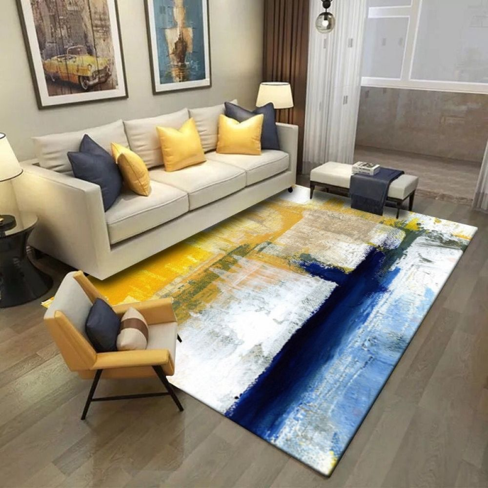 Simple Modern Abstract Art Oil Painting Rug In 2020 Rugs In