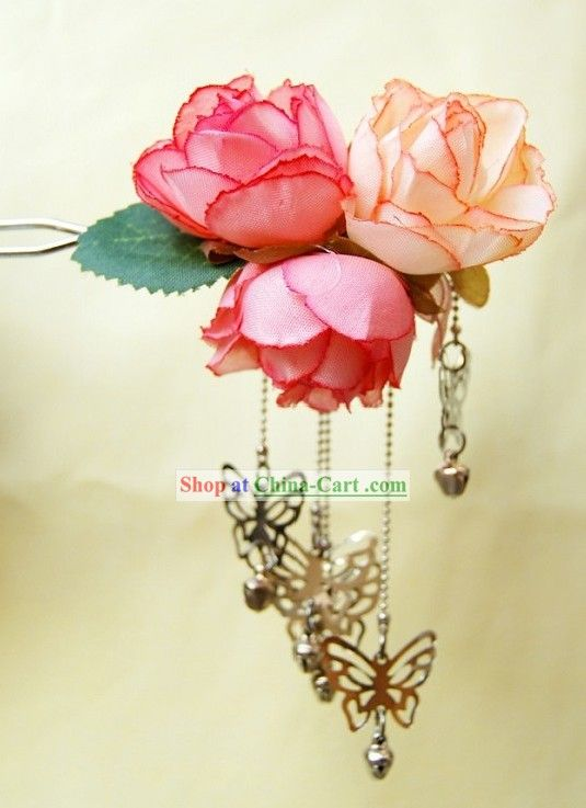 Ancient chinese silk flower and butterfly hairpin guam gu ancient chinese silk flower and butterfly hairpin guam gu mightylinksfo