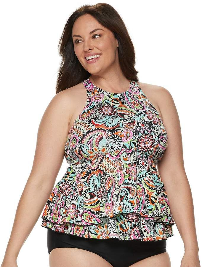 4ba2fc5796043 Plus Size A Shore Fit Hip Minimizer Tiered High-Neck Tankini Top in ...