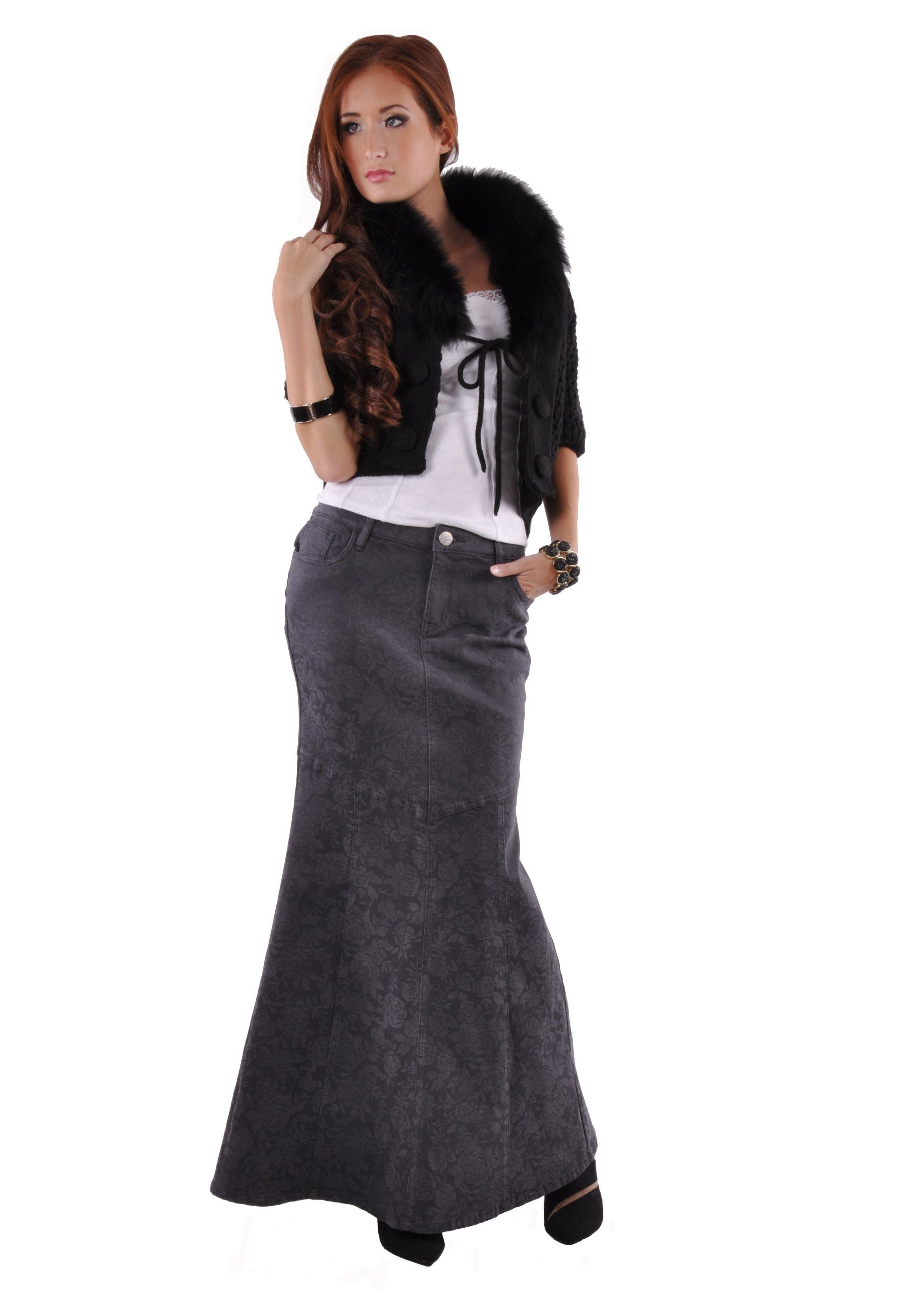 5564c0c9de Rosie Chic Long Denim Skirt   My Style   Denim skirt, Skirts, Plus ...