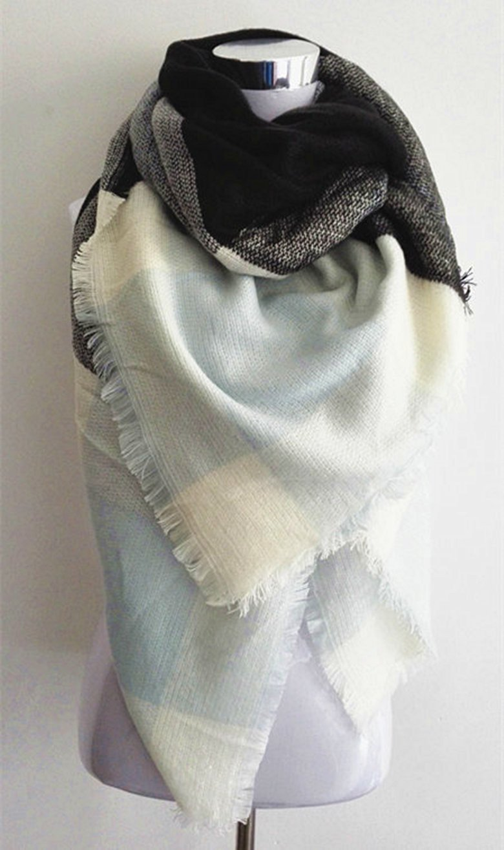 Light Blue Plaid Blanket Scarf - Simply BKC