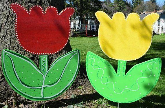 Tulip Yard Art Stakes Wood Painted Tulip Garden Stake Spring