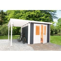 Photo of Wolff Finnhaus garden house Pulti Softline 3030 (6,15 x 3,42 m, espesor de pared: 28 mm, natural, con extensión) W