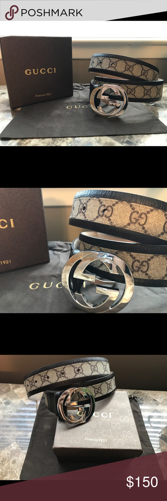 b10fb0d04716 🔑Authentic Men's Gucci Belt Brown Trim Authentic Gucci Belt All sizes from  28-44 available Ships with belt, box, dust bag and tags!