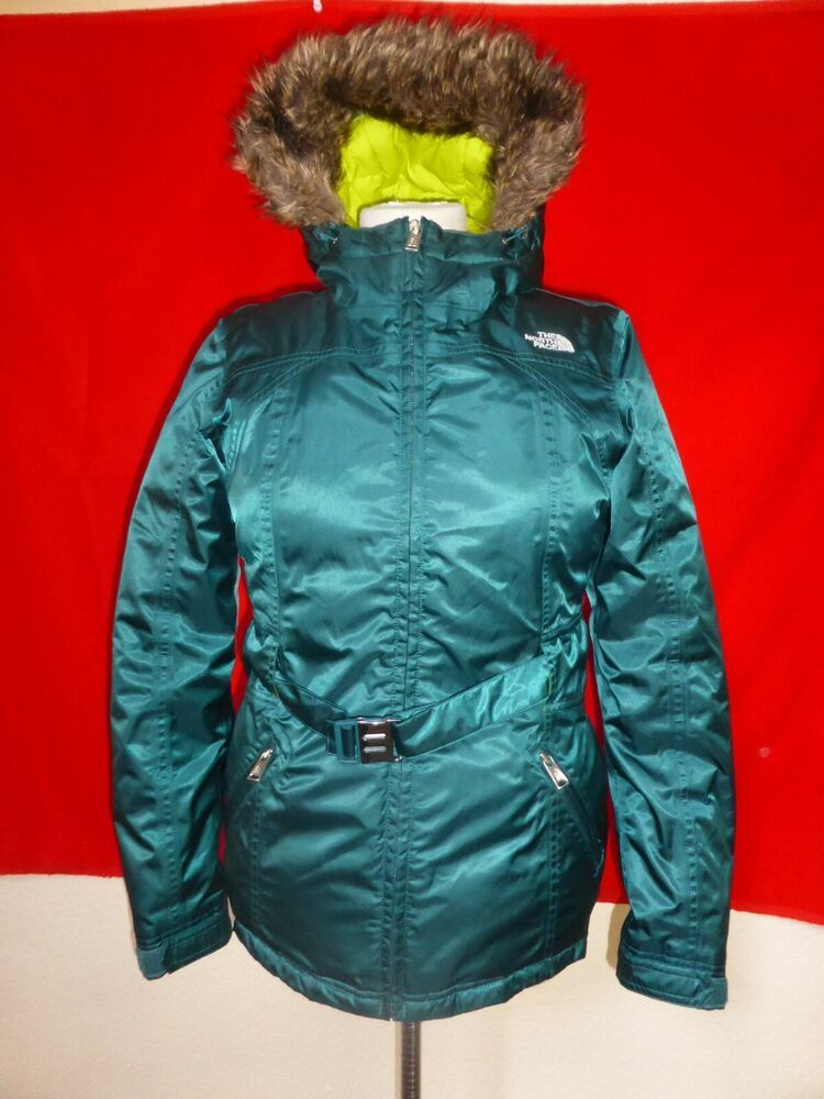 4c04541b0 The North Face Womens Goose Down Hooded Jacket Coat Emerald Green sz ...