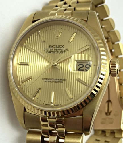 cc9fdbb8283d Rolex Datejust Solid Gold 18k Sapphire Oyster Perpetual Jubilee Mens Watch  16018