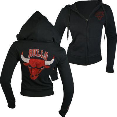 9f6f2bb1328 Chicago Bulls NBA Womens Back Logo Full Zip Hooded Sweatshirt (Black ...