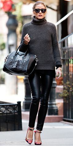 Olivia Palermo strolled N.Y.C. in a chic ensemble that included a chunky sweater, leather leggings, convertible Givenchy tote and embroidered ankle-strap heels.
