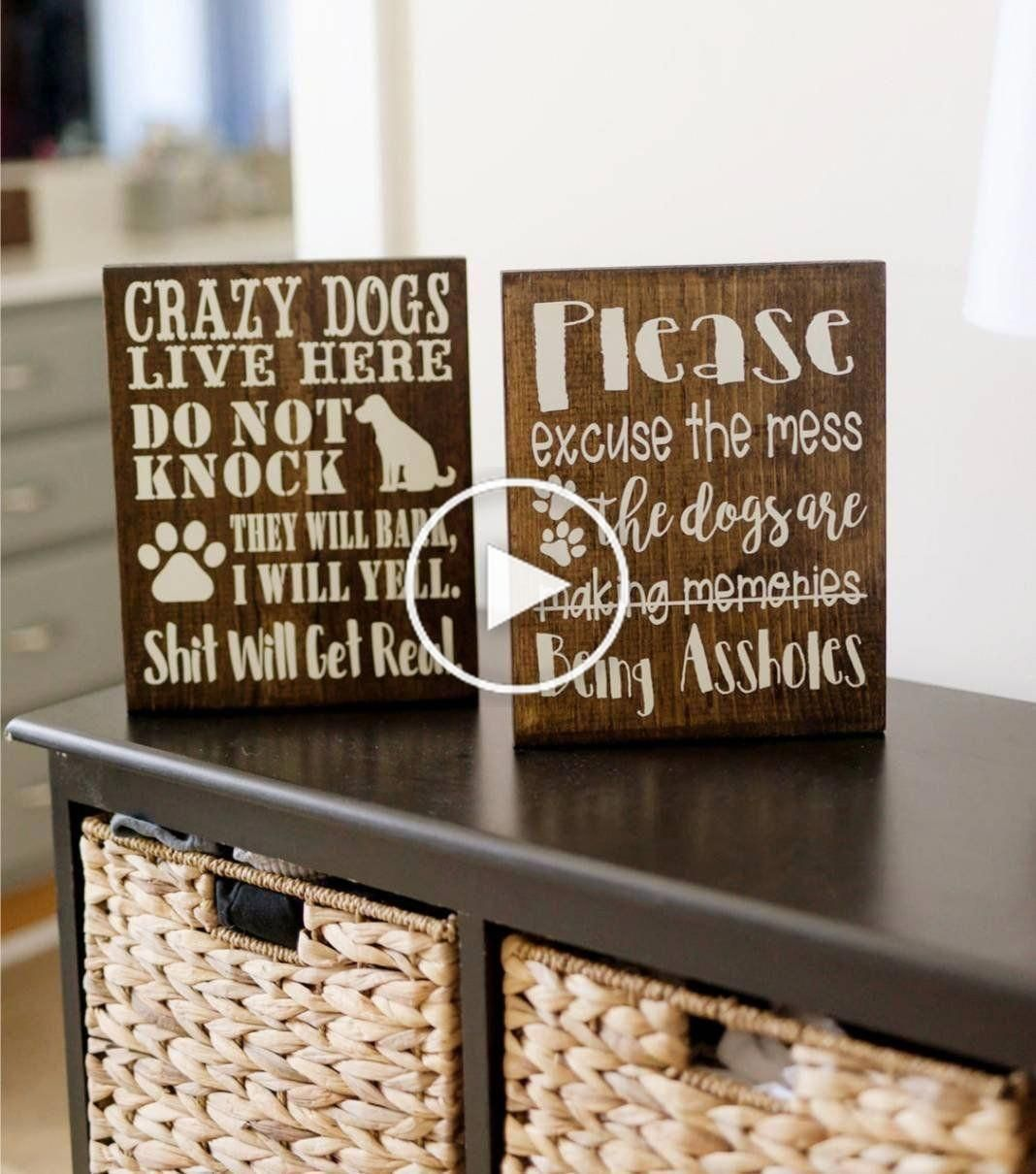 Pet Lovers, Rustic Home Decor, Please Excuse The Mess, Crazy Dogs Live Here, No Soliciting, Dog #nosolicitingsignfunny