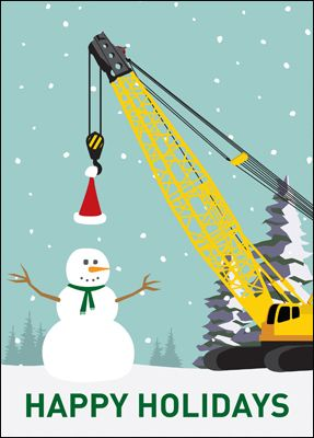 Construction crane card glossy white 1825 construction snowman construction crane cards personalized for your business reheart