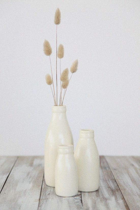 Handmade Ceramic Milk Bottle Vase Tableware White Ornaments